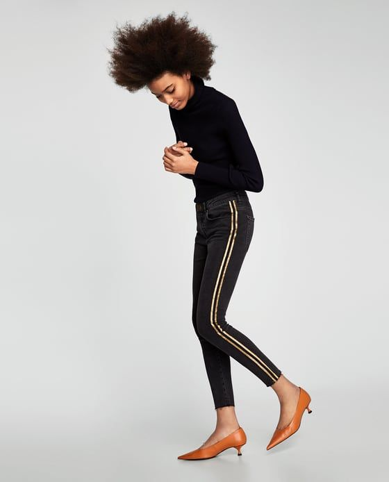 36469174 Z1975 skinny jeans with glittery side taping | Clothes I'm coveting ...