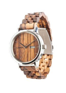 """Wooden watch ROBERTO: """"Roberto"""" is manufactured out of finest Zebrano wood, while the case is made out of stainless steel. This interaction makes the wood watch to a perfect companion for every day. Also quite practical is the display of the date and the day of the week."""