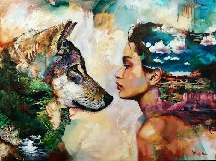 Woman and wolf art