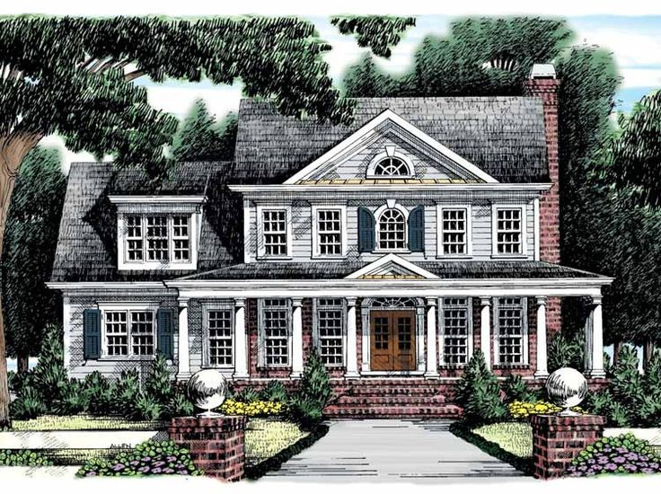 so far this is one of 2 or 3 that have been closest to what id prefer as a floor plan layout.  this has the master suite upstairs tho, and i would like it on the main floor..  Greek Revival House Plan with 2426 Square Feet and 4 Bedrooms(s) from Dream Home Source | House Plan Code DHSW32169