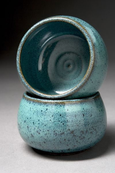 Tea Bowls in Persian glaze by Willow Creek Pottery, love this colour glaze