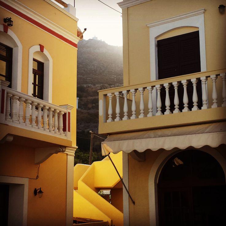 Golden staircase with mountaintop castle- Leros