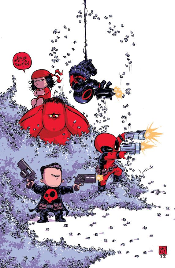 Thunderbolts Variant by Skottie Young featuring Red Hulk, the Punisher, Venom, Elektra, and DEADPOOL.