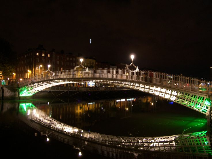 The Liffey Bridge in Dublin at night (photo from the Timothy J - website storyboard