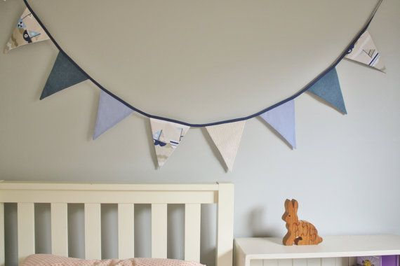 Nautical blue Fabric Bunting for childrens by lilchickenbigchicken