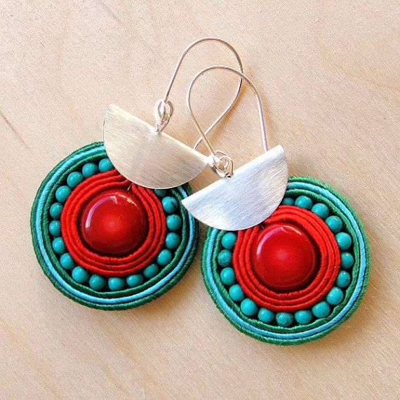 """Soutache earrings """"Rudo"""" - red Coral and natural Turquoise"""