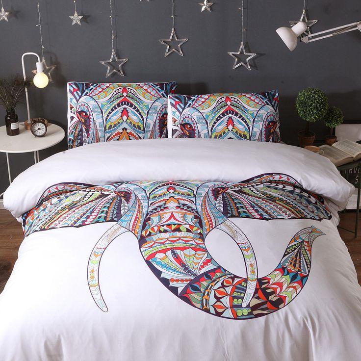 3PS comfort Bedding Sets Colorful Bohemian Print Duvet Cover Pillowcase Elephant Exotic Bedclothes Multi king queen jogo de cama #Affiliate