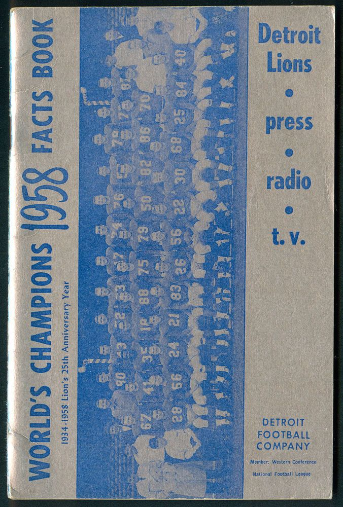 1958 #NFL #Detroit lions press radio and t.v. guide - 1957 world champions - vf from $50.0