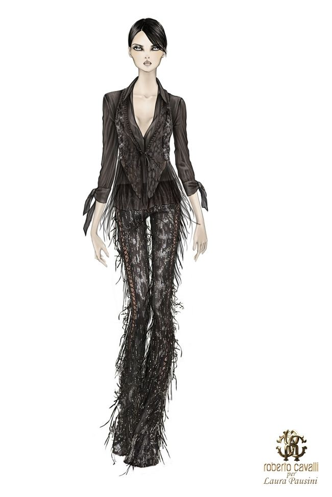 The edgy suit made up of trousers and gilet on which the embroidered panels were expertly hand-treated by skilled artisans with python, crocodile and also partly in nappa leather, joined with long suede fringe