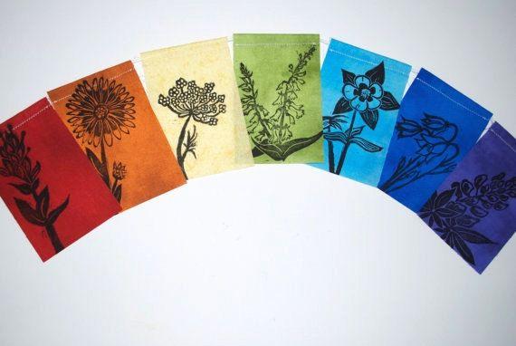 Colorado fleurs sauvages Gratitude drapeaux, prière de fanions, jardin bannière (fait avec un originale sculpté imprimés à la main) petit,