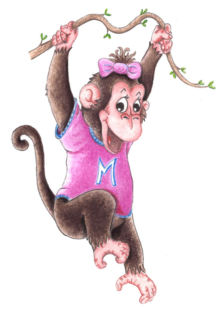 Mia The Cheeky Monkey. A commissioned illustration for a little girls T-shirt design. For your own design please contact me.