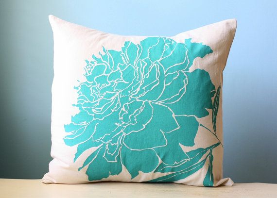 Peony Flower Linen Pillow Cover Decorative Cushion by LaurenAlison, $59.00