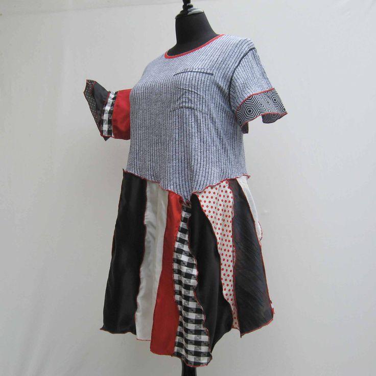 Red black white dress, plus size dress, upcycled dress, 20 18 16 refashioned dress, deconstructed dress, boho festival dress, asymmetrical by Rethreading on Etsy