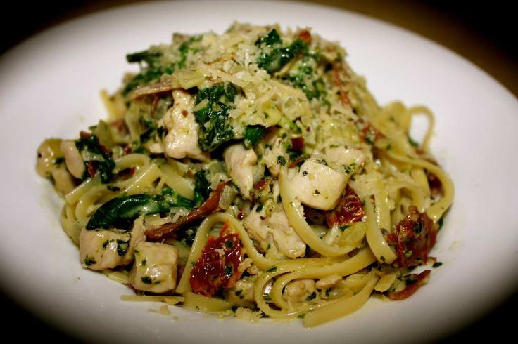 Linguine Con Pollo e` Pesto - add artichokes and roasted red peppers - would be almost the same as at Pastinis