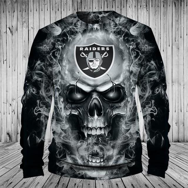 f9b7bc9e NFL Football Oakland Raiders 3D Skull Full Zip up Hoodie Sweatshirt ...