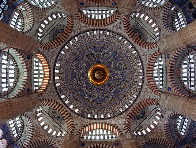 Fisheye view of the interior - Selimiye Mosque, Edirne, Turkey