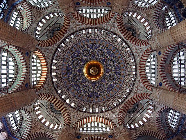 Fisheye view of the interior - Selimiye Mosque, Edirne, Turkey