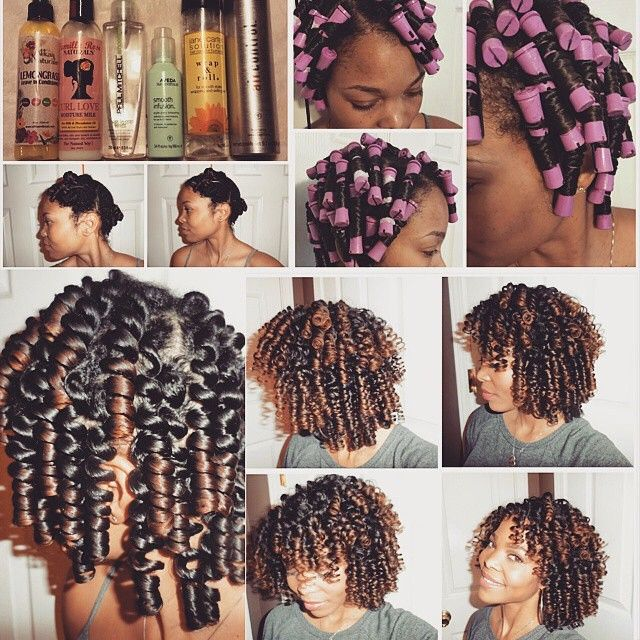 "amazingnaturalhair: ""By @msshadena How I rod my hair and the products that have worked well for me lately… In order of how I layer them: 1. Alikay Naturals Lemongrass leave-in conditioner 2. Camille..."