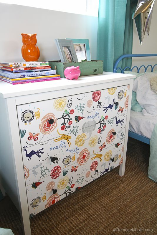 15 minute Ikea Dresser Hack – Wallpaper covered dresser