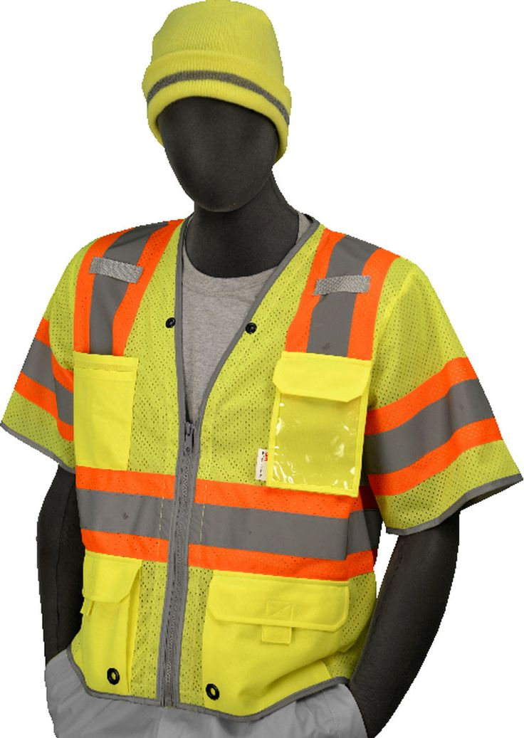 Majestic 753325 Hi Vis Yellow Safety Vest ANSI Class 3 D