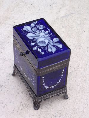 *MARY GREGORY: MERIDEN SILVERPLATE COBALT Jewel/Trinket Box