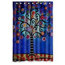 """48"""" x 72"""" Mexican Style Tree Flower Floral Thick High-grade Polyester Shower Curtain(Rideau de douche)"""