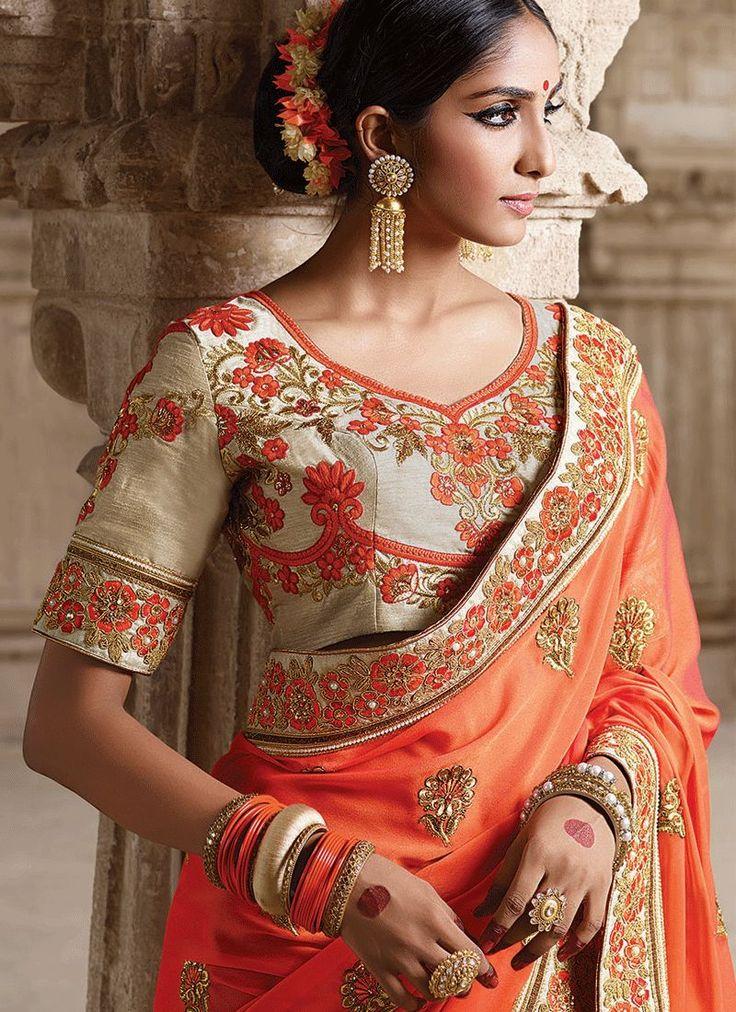Georgette Orange Designer Saree 9