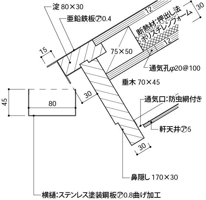 外樋 角樋 一般的 詳細図面 施工図 パラペット