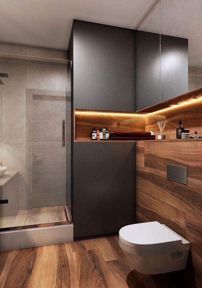 Bathroom Designs For Small Spaces Wooden Floor Black Wall Glass Door Toilet Bowl Shelf Led Ligh In 2020 Bathroom Design Bathroom Interior Design Modern Bathroom Design