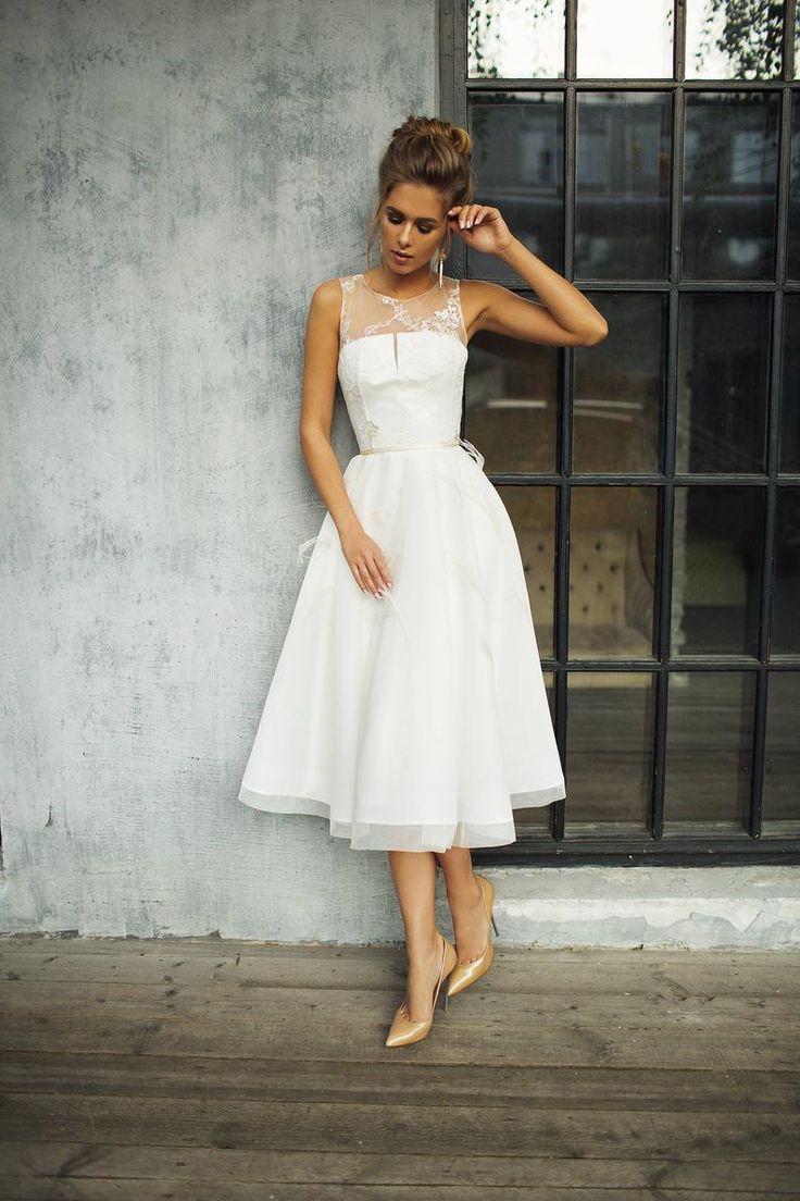 tea length wedding dresses,short prom dress classic evening dress from Handmade Dress