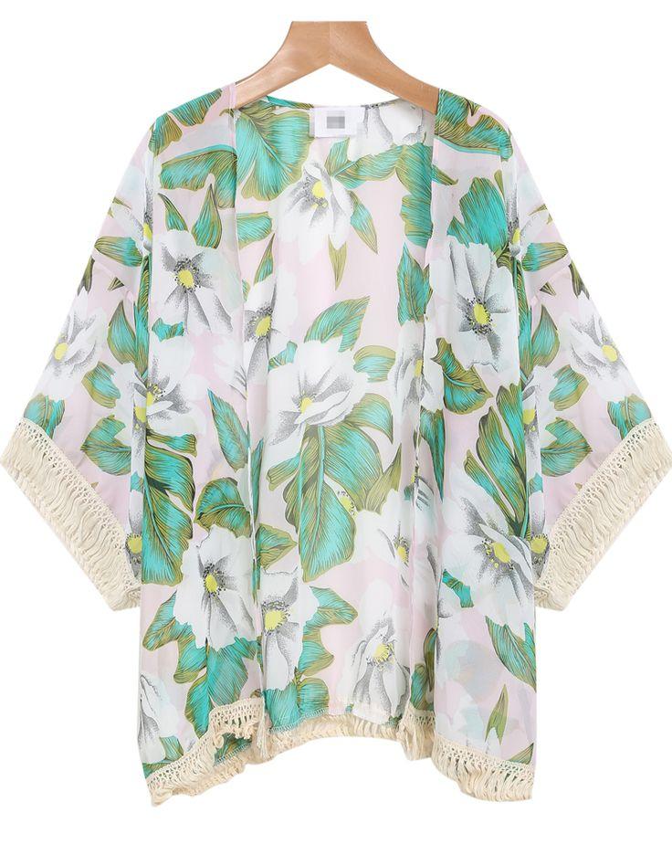Green Long Sleeve Floral Tassel Kimono - Sheinside.com
