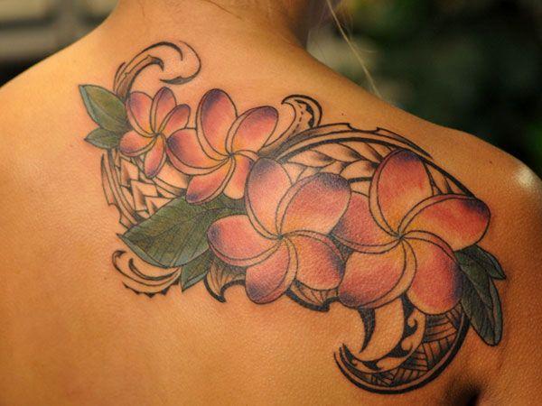 plumeria flower tattoos | ... curvy patterns look dynamic in this pink flowers tattoo design