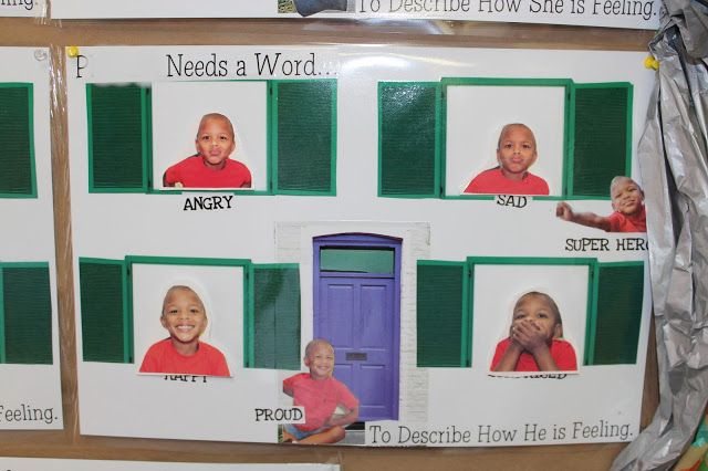 Building Social Intelligence in Prek Students-After watching Dave Matthews and Grover sing about feelings, students make their very own Emotions Game Board complete with photos of themselves expressing emotions and emotion sight words to match.