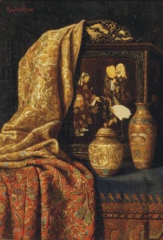 Max Schödl A Chinese jar and vase, a painting and fabric on a tabletop, 1888