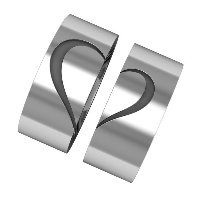 Heart couple ring silver band rings matching promise by ASHYL, $140.00
