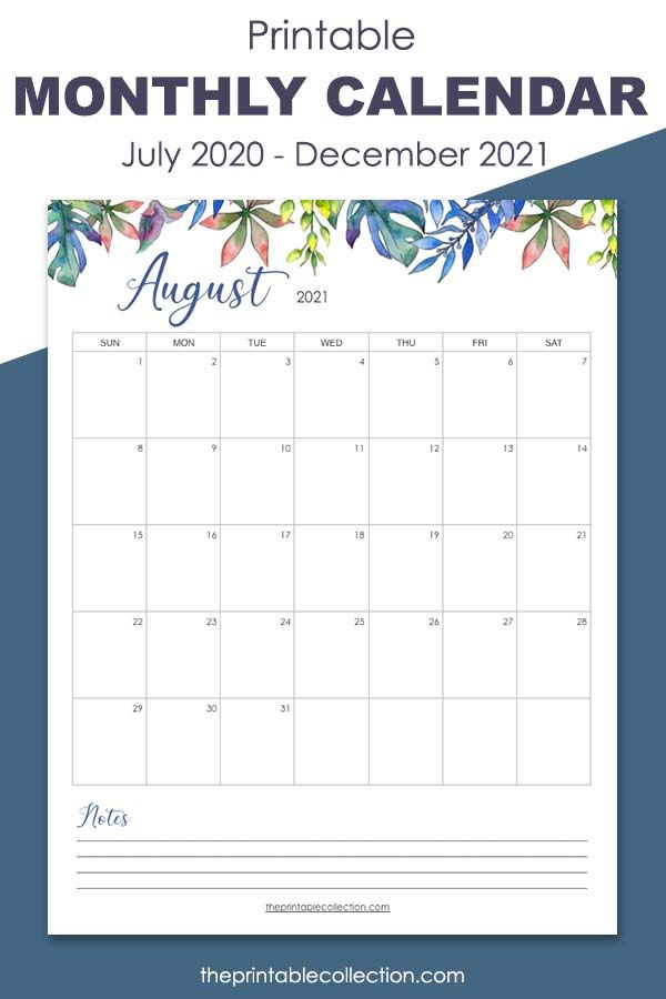Remember Everything Every Month During 2021 With This Printable Calendar Monthly Calendar Printable Printable Calendar Template Printable Calendar