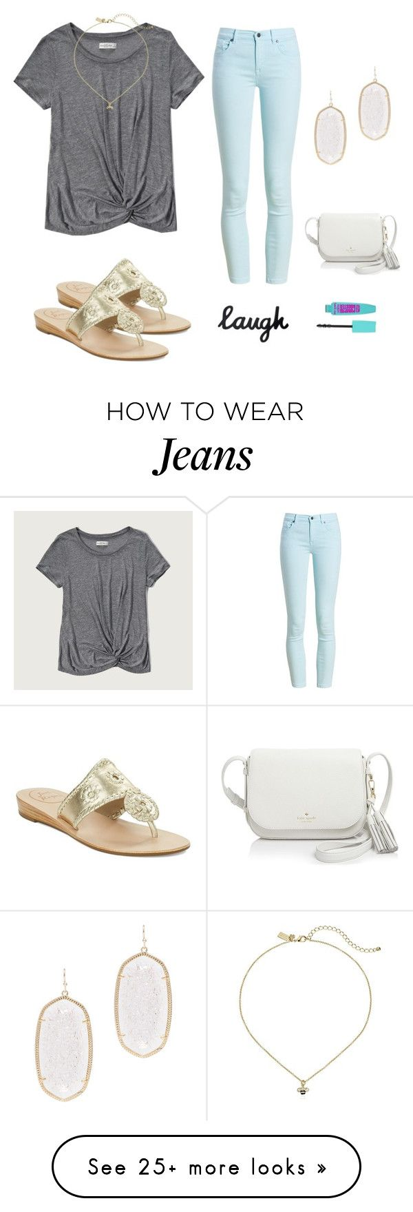 """""""Again with those colored jeans """" by avazumpano on Polyvore featuring Abercrombie & Fitch, Barbour, Jack Rogers, Kendra Scott and Kate Spade"""