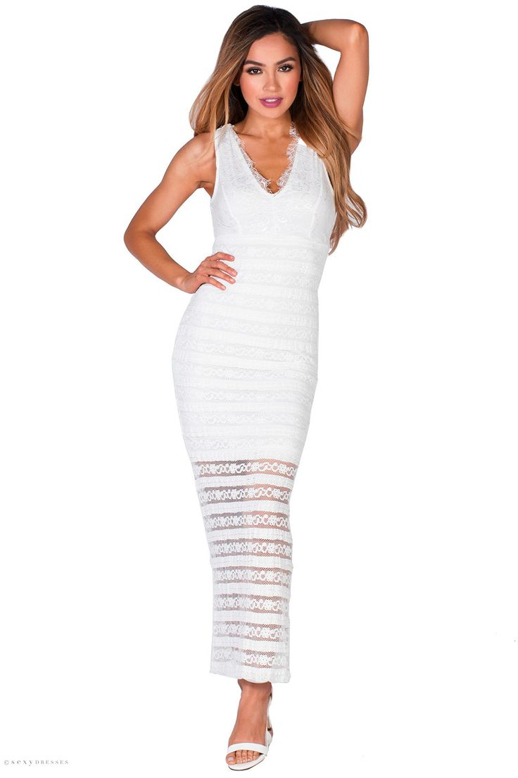 Empire Waist V Neck Sleeveless Fitted Long White Lace Dress