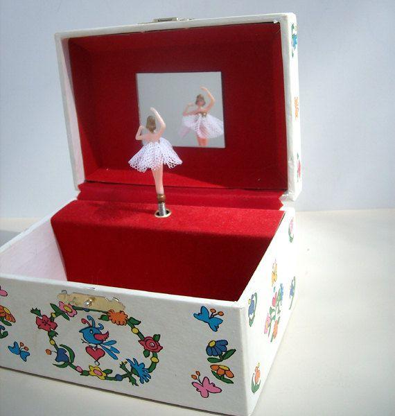 Vintage Spinning Ballerina Jewelry Music Box Kids