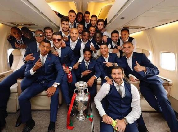 Cristiano Ronaldo & his Portugal mates pose inside his private jet after EURO 2016 win