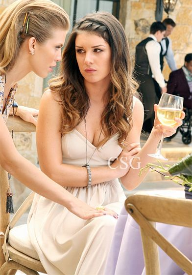 Seen on Celebrity Style Guide: 90210 Style: Shenae Grimes, as Annie Wilson wore the BCBGMaxAzria Kyra Cropped Bustier Maxi Dress and  on October 15, 2012 in 90210 Episode The Sea Change