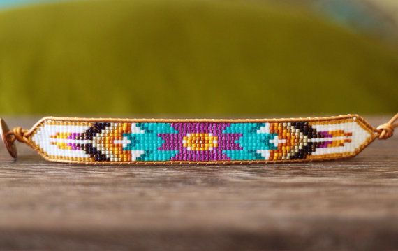 Custom-sized Turquoise, Purple Loom Beaded Wrap Bracelet