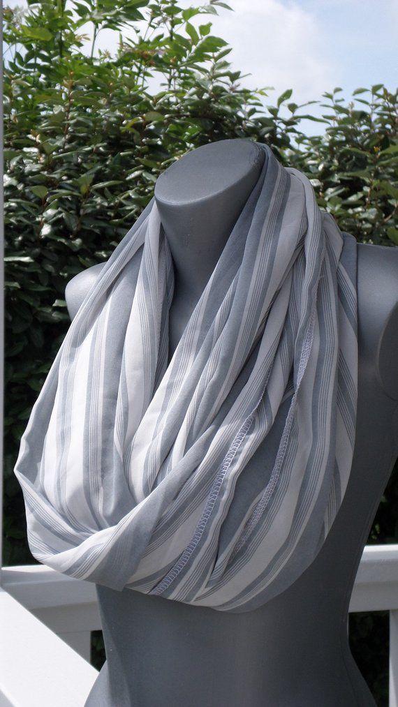 Snood écharpe tube tour du cou foulard etole  femme  gris blanc créateur  lineva ad389acf334
