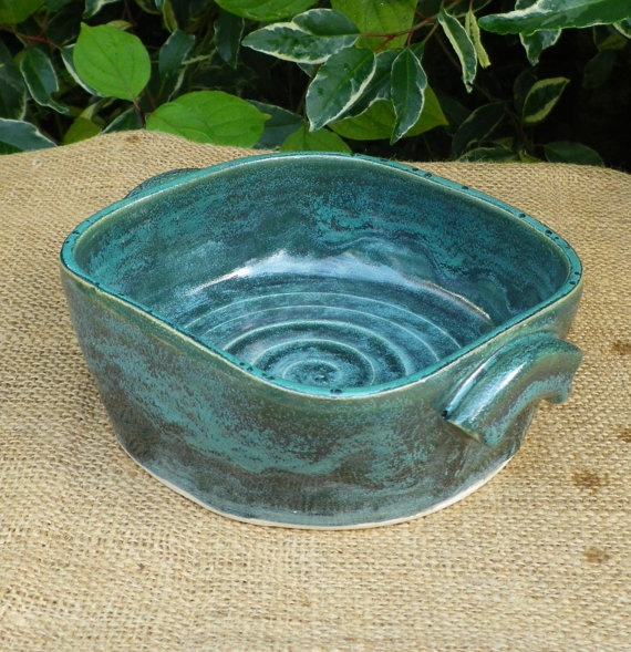 Made on my new square pottery wheel !!......Serving dish bowl casserole bread baking hand thrown.