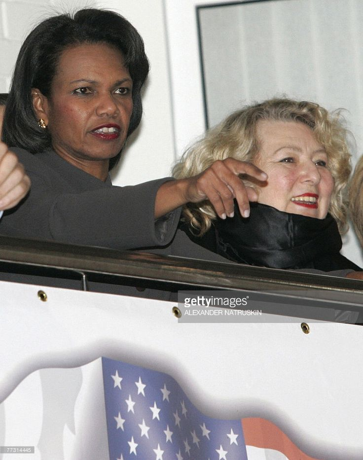 US Secretary of State Condoleezza Rice and Russian figure skating coach Tatyana Tarasova watch Russian figure skaters perform at the CSKA ice arena in Moscow, 13 October 2007. Rice criticised the extent of Russian President Vladimir Putin's grip on power as human rights activists urged her to pressure Moscow ahead of upcoming elections.