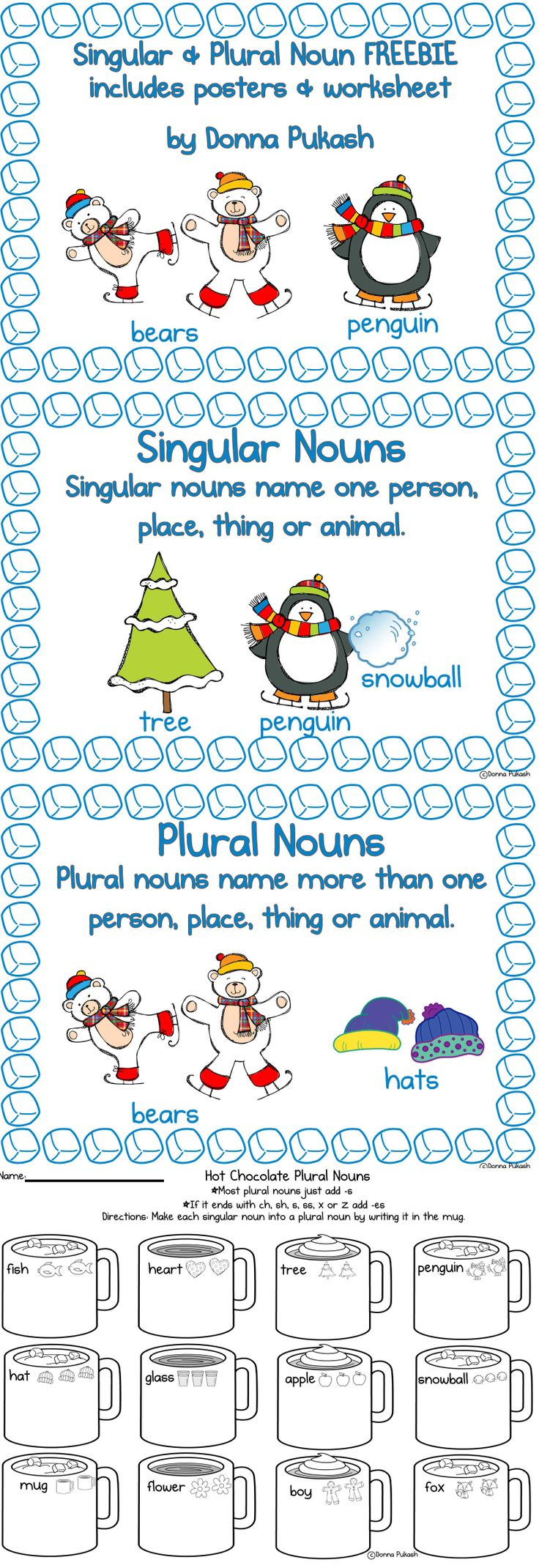 FREEBIE!! So cute hot chocolate themed singular and plural nouns