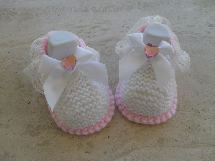 Knitted Baby Girl Shoes, Lace and Bows Ready Made For Sale at My Etsy Shop MarilynsCreation