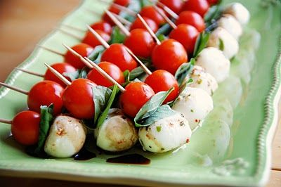 Salad on a stick! Caprese salad skewers. Could maybe use an olive also