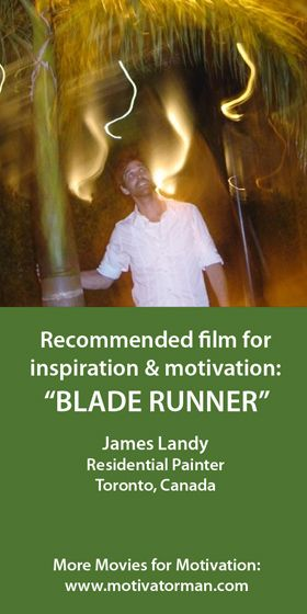 """""""With all of our uniqueness as individuals we are much more alike than we'd like to admit sometimes. That's what Blade Runner does for me."""" James from Toronto, Canada. SEE ALL MOVIE RECOMMENDATIONS:  http://bit.ly/movieloversaroundtheworld"""