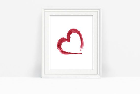 Printable Red Abstract Heart by PlayfulPixieStudio. This printable is available in several sizes to suit any space :) #redabstract #redheart #brushstrokes